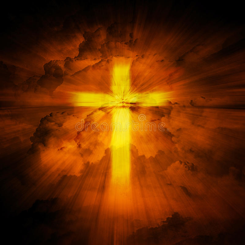 Light of the Cross. With the red cloud background royalty free stock photos