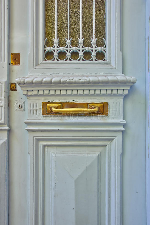 Light cyan elegant door. Close-up royalty free stock photo