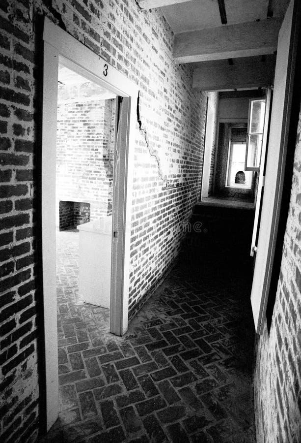 Light and Dark. Lonely hallway, Atalaya castle, South Carolina, U.S.A royalty free stock photos