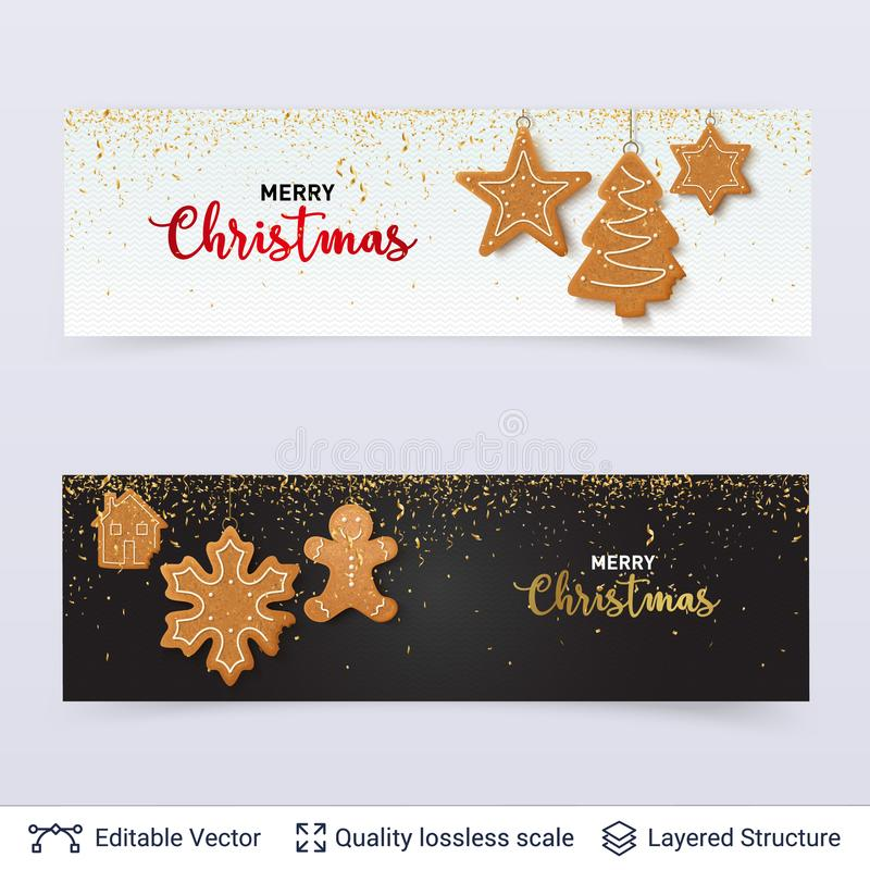 Light and dark banners with Gingerbread cookies. vector illustration
