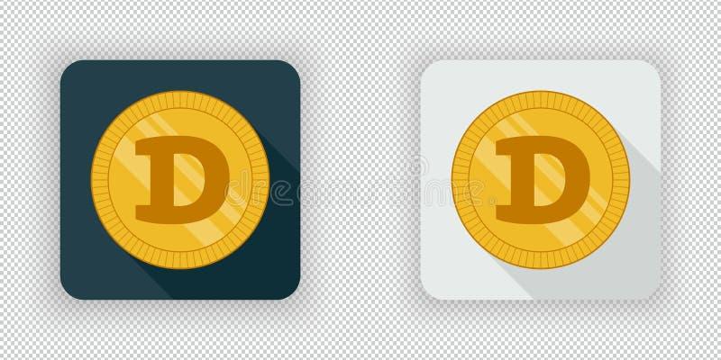 Dogecoin - Icon On Digital Background. Stock Illustration ...