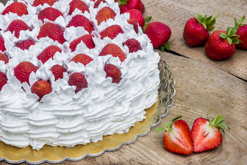 Download Light, Delicate And Tasty Cream Cake With Fresh Strawberries Half Cake Stock Image - Image of celebration, homemade: 83724321