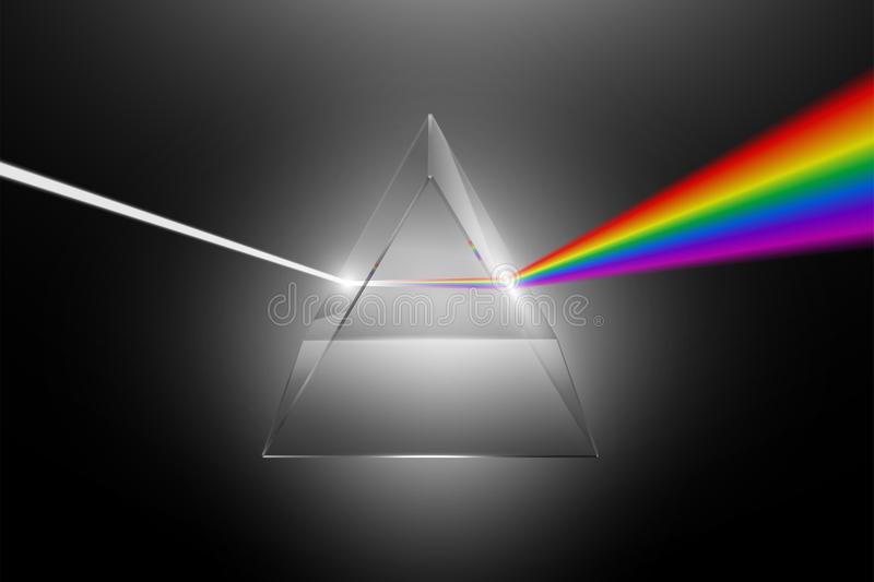 Light dispersion to a spectrum on a glass prism stock illustration