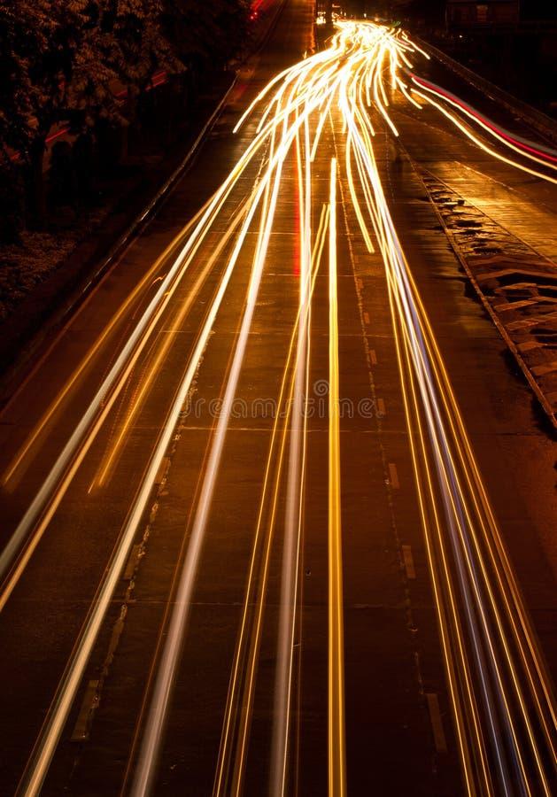 Light draw. Lingt car draw on road stock photo