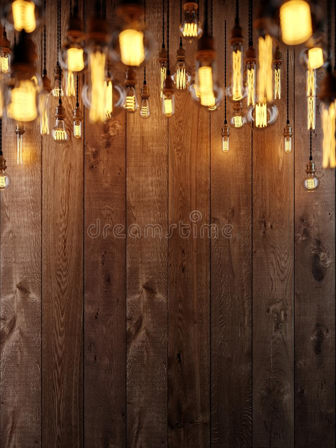 The light from the Edison lamp. Hang on the background of a wooden wall, depth-of-field camera effects. 3D rendering vector illustration