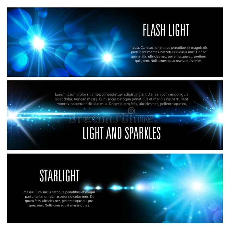 Blue light effect banner set with star shine. Light effect banner set with blue shine of light flash, glare of sun and star, glow of bright ray with glitter royalty free illustration