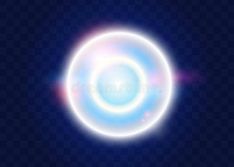 Light effect, glowing flare.vector effect with glare glitter rays shine on transparent background. Magic soap bubble royalty free illustration