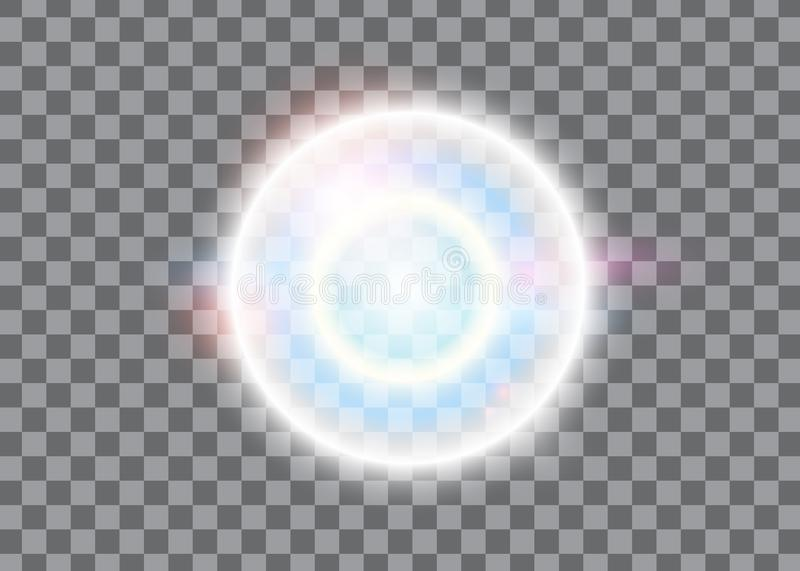 Light effect, glowing flare.vector effect with glare glitter rays shine on transparent background. Magic soap bubble. Glow sparkling reflection Vector graphic vector illustration
