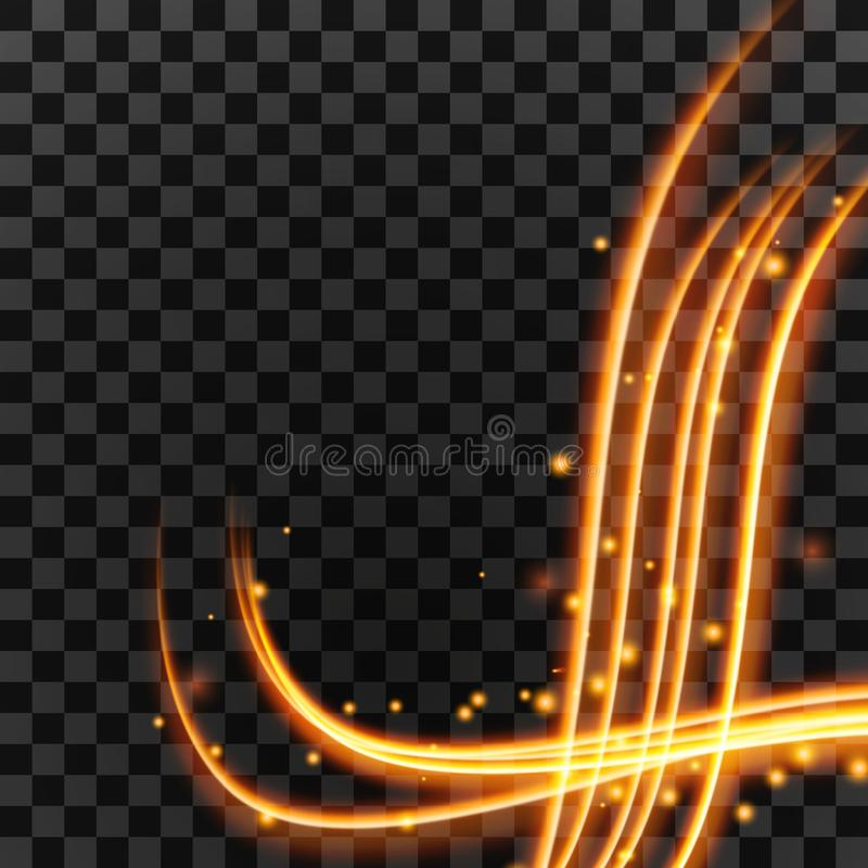 Light effect with glowing gold wavy lines and sparkles isolated on transparent special effect. Vector illustration stock illustration