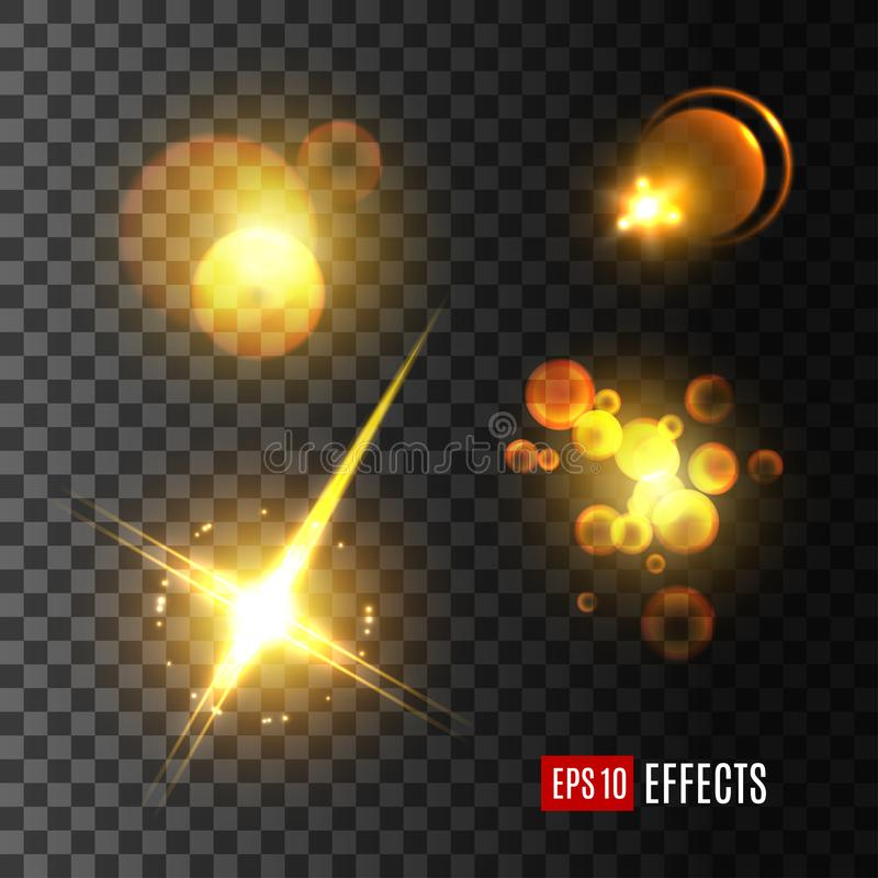 Light effect set of golden glitter, star, sun beam. Light effect and golden glitter set. Glowing sun beam with lens flare, shining star with glare of bright ray stock illustration