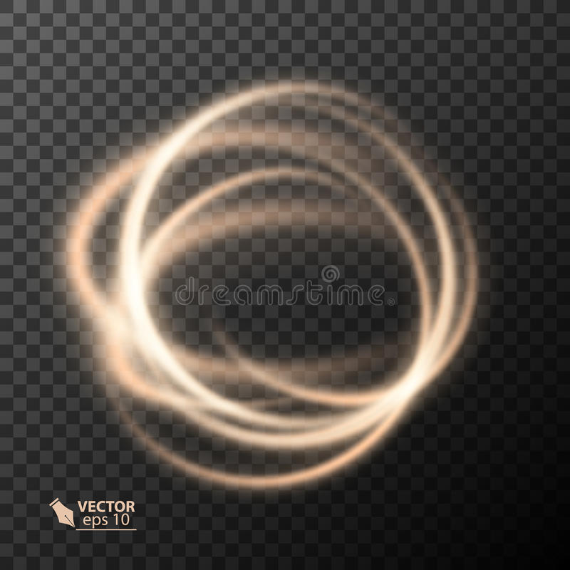 Light effect line gold vector circle. Glowing light fire ring trace. Glitter magic sparkle swirl trail effect on. Transparent background. light glitter round vector illustration