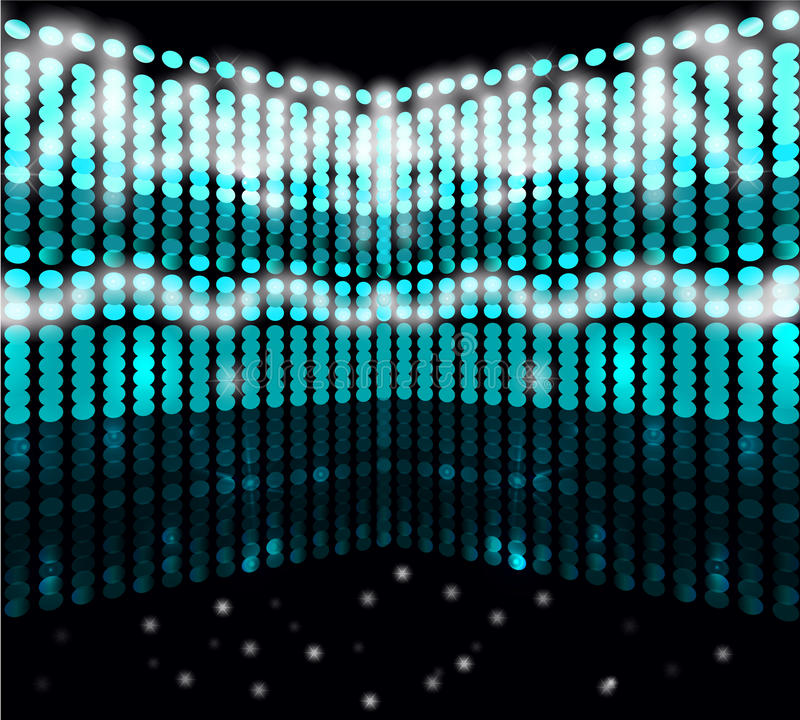 Light effects. The image with the background for the show of the circles of different colors on a dark background and light effects stock illustration