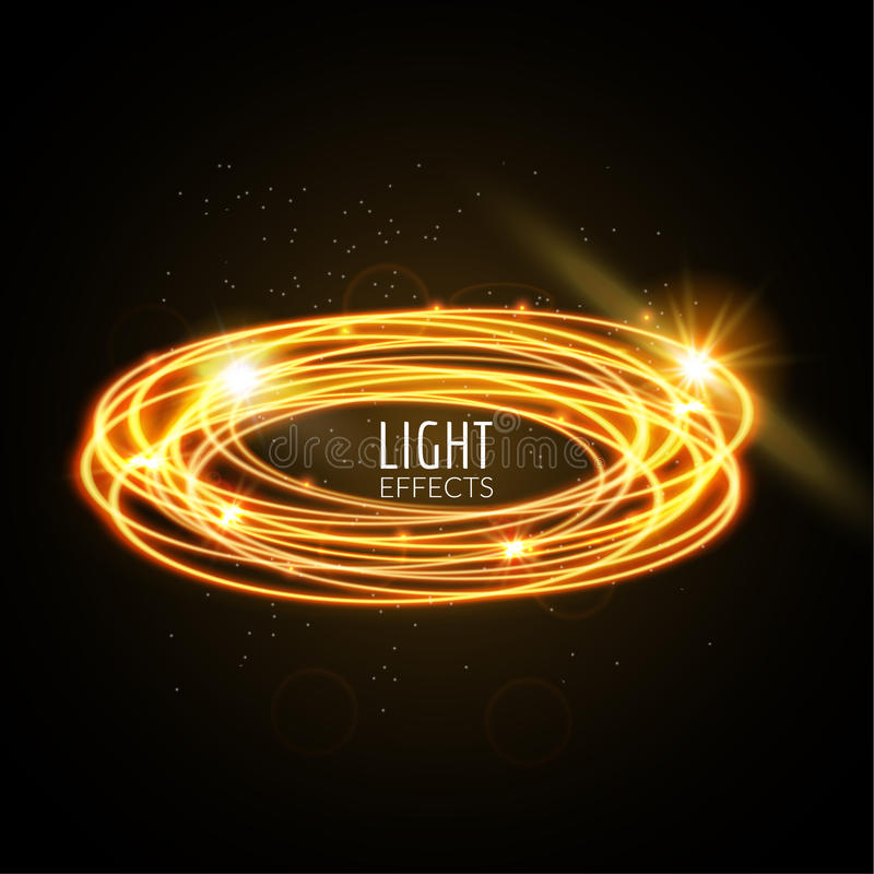 Free Light Effects Rings. Motions Glowing Lines With Particles. Modern Style. Shining Lines Stock Images - 86044814