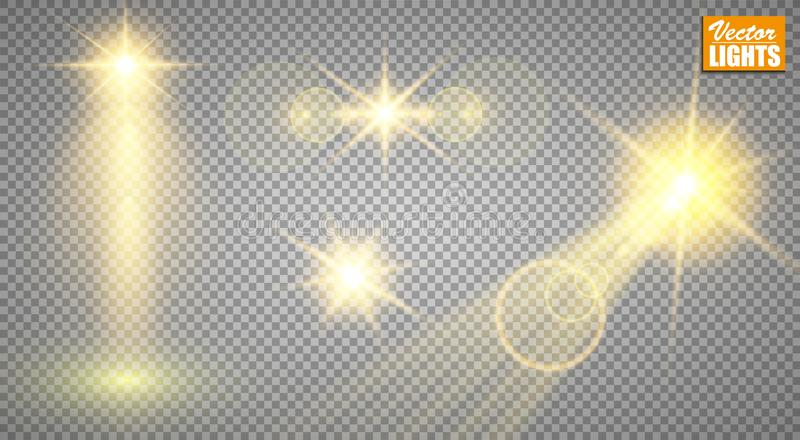 Light effects. A set of golden shining lights isolated on a transparent background. The flash flashes with rays and a. Searchlight. A splash of stars with stock illustration