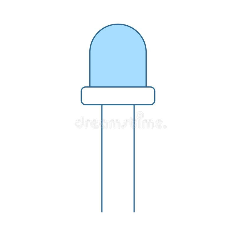 Light-emitting Diode Icon. Thin Line With Blue Fill Design. Vector Illustration stock illustration