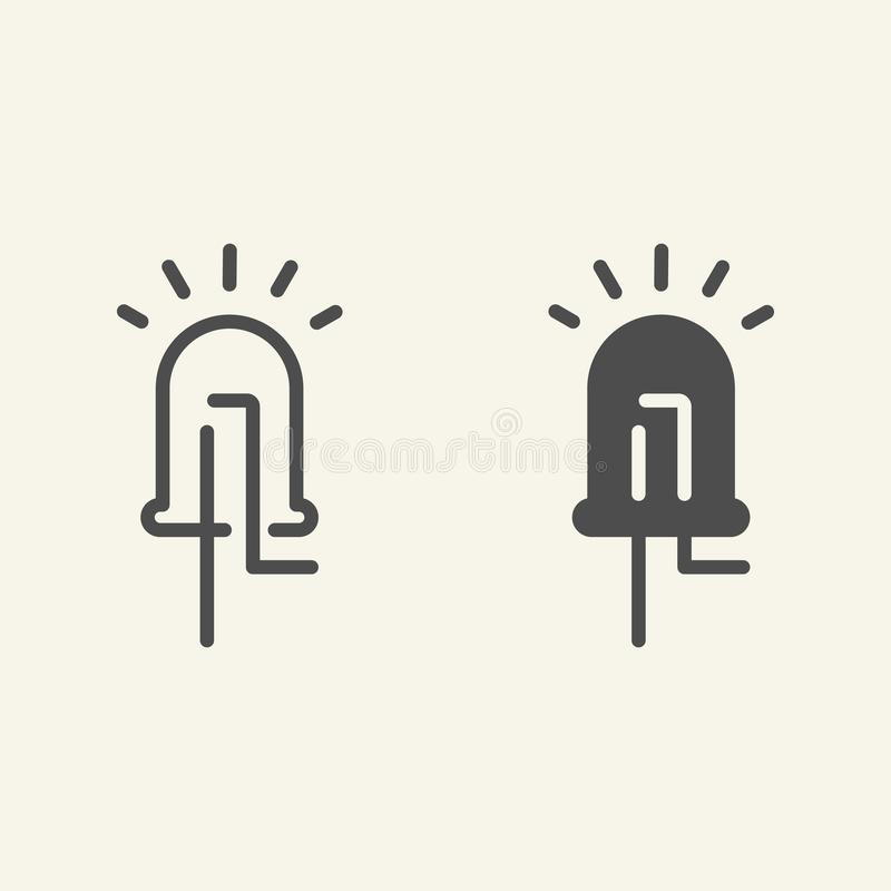 Light emitting diode line and glyph icon. Led vector illustration isolated on white. Electric technology outline style stock illustration
