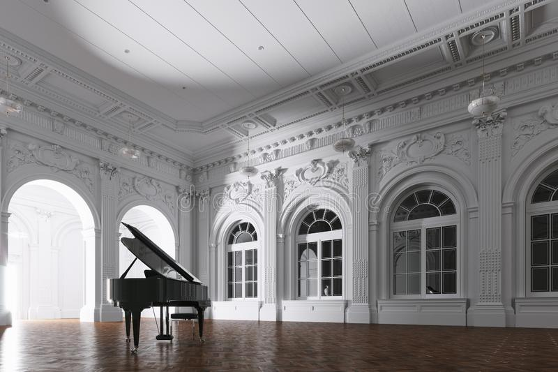 3d render of light in empty classic museum room with grand piano through the opened door. Of light in empty classic museum room with grand piano through the stock images