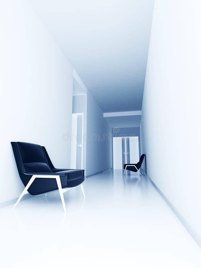Light empty hall of business center stock image