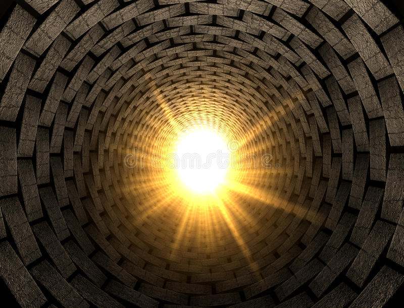Light At The End Of A Brick Tunnel stock illustration