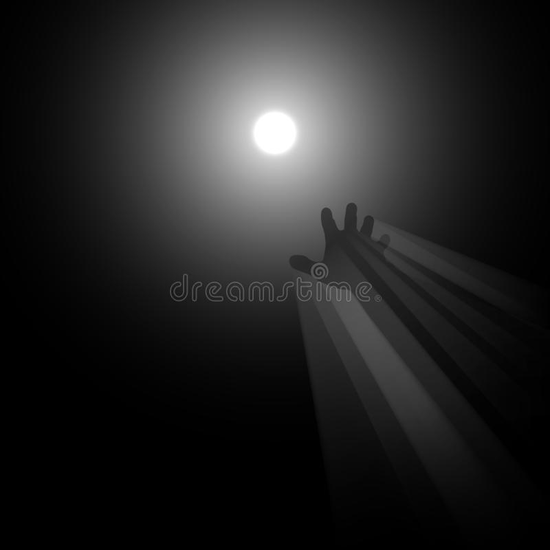 Light in the end concept illustration. A metaphor of afterlife, knowledge, clinical death, hope, religion, light in the end of the tunnel, hand reaching for royalty free illustration