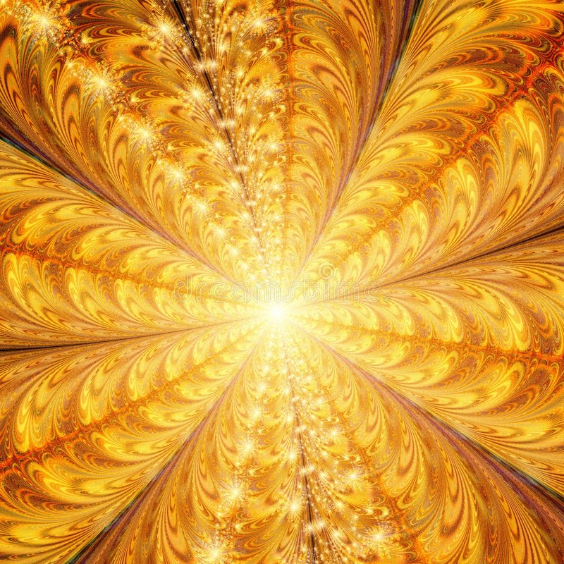 Light at the end of the tunnel. Golden Abstract Background Design Template. Symmetrical and colorful stock illustration