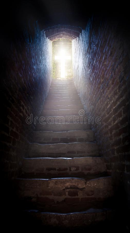 Steps leading up to the sun . Way to God . bright light from heaven . Religious background . Light from sky . solar explosio royalty free stock images