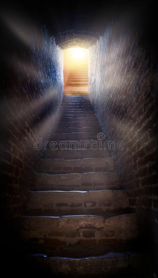 Steps leading up to the sun . Way to God . bright light from heaven . Religious background stock photos