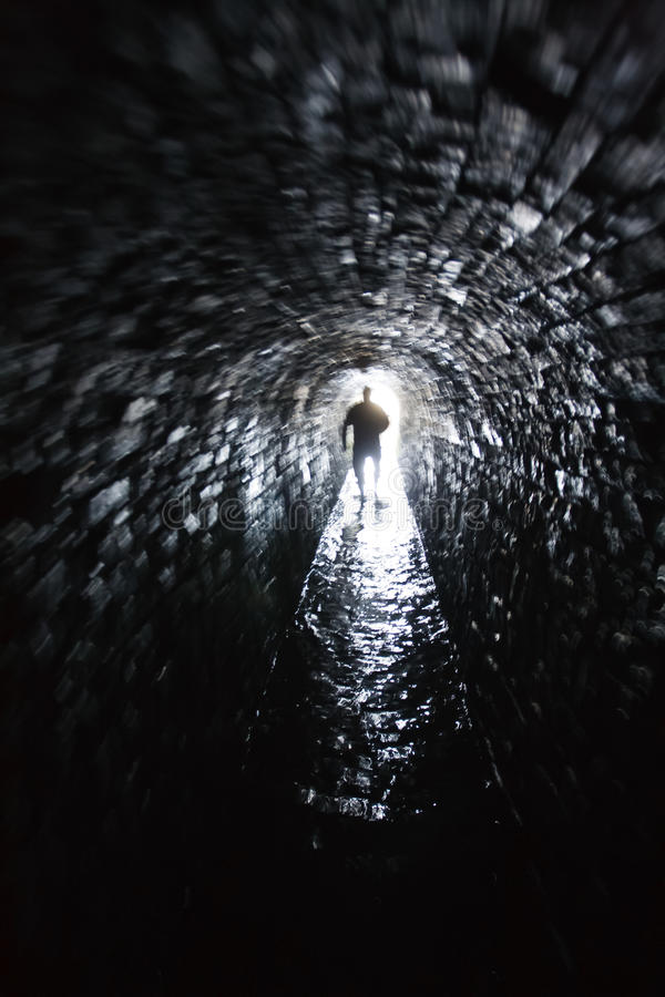 Light at the end of the tunnel. Exit of famous Killhope lead mine in England royalty free stock photo