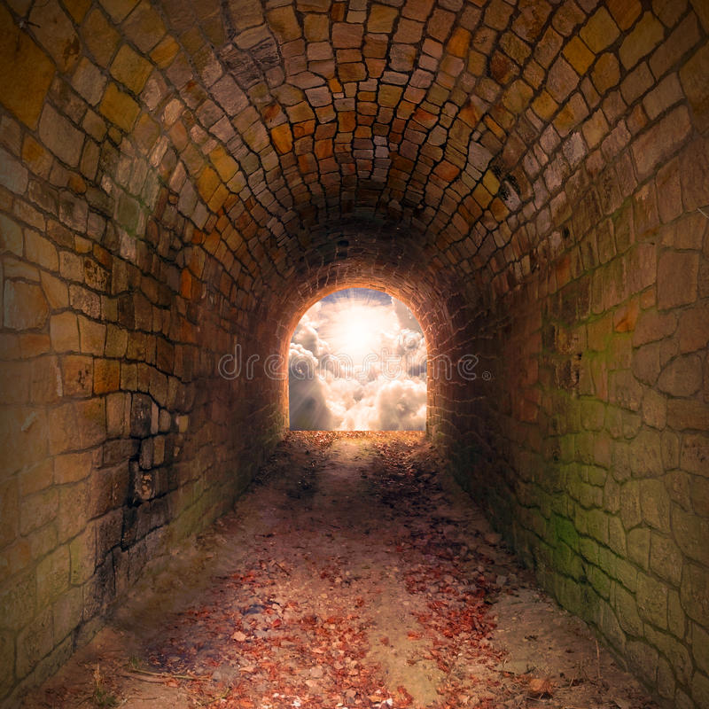 Light at end of the tunnel. stock image
