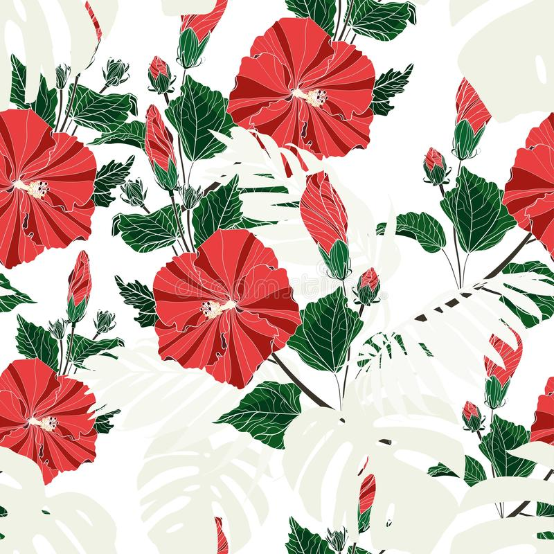 Light exotic monstera and palm leave, red hibiscus flowers branch seamless pattern. White background stock illustration