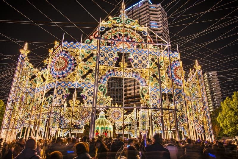Light Festival. KOBE, JAPAN - DECEMBER 12: Luminarie light festival December 12, 2012 in Kobe, JP. The annual festival commemorates the 1995 Great Hanshin stock image