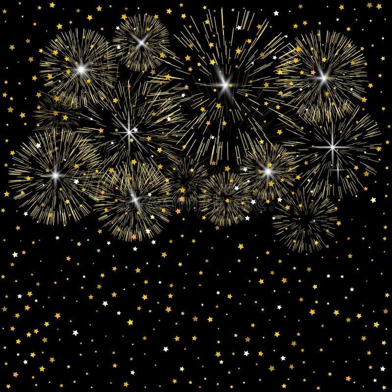 Light fireworks on dark background. Abstract background. Golden fireworks. vector illustration
