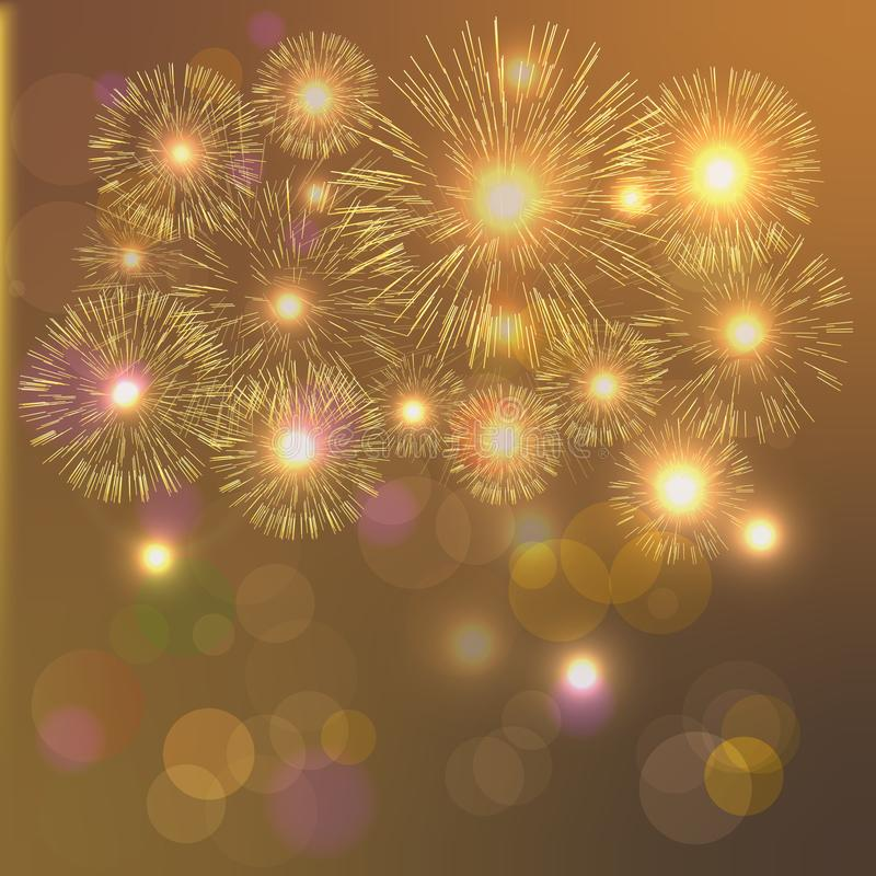 Light fireworks on red background. Abstract background with place for your text. Golden fireworks. vector illustration