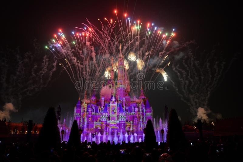 Light and fireworks show in Shanghai disneyland. Disney Castle with light and fireworks show in Shanghai disneyland royalty free stock photography
