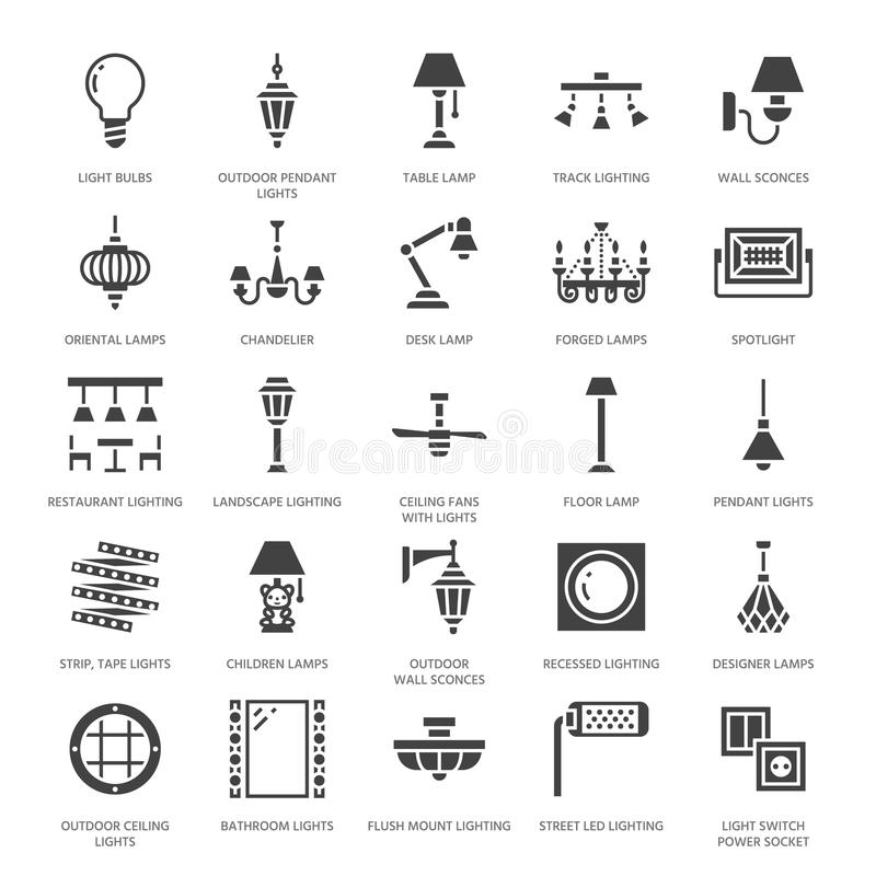 Free Light Fixture, Lamps Flat Glyph Icons. Home And Outdoor Lighting Equipment - Chandelier, Wall Sconce, Bulb, Power Socket Stock Photo - 108299670
