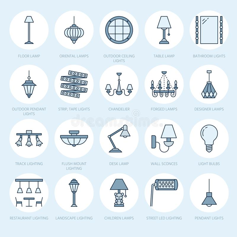 Light fixture, lamps flat line icons. Home and outdoor lighting equipment - chandelier, wall sconce, desk lamp, light. Bulb, power socket. Vector illustration royalty free illustration