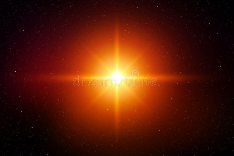 Light flash effect. Light flash flare effect of glittering sun or star vector illustration