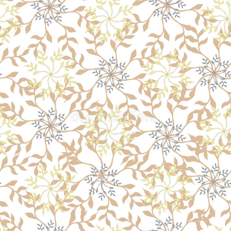 Light floral pattern. Floral ornament in beige colors on a white background. Seamless texture for your design stock illustration