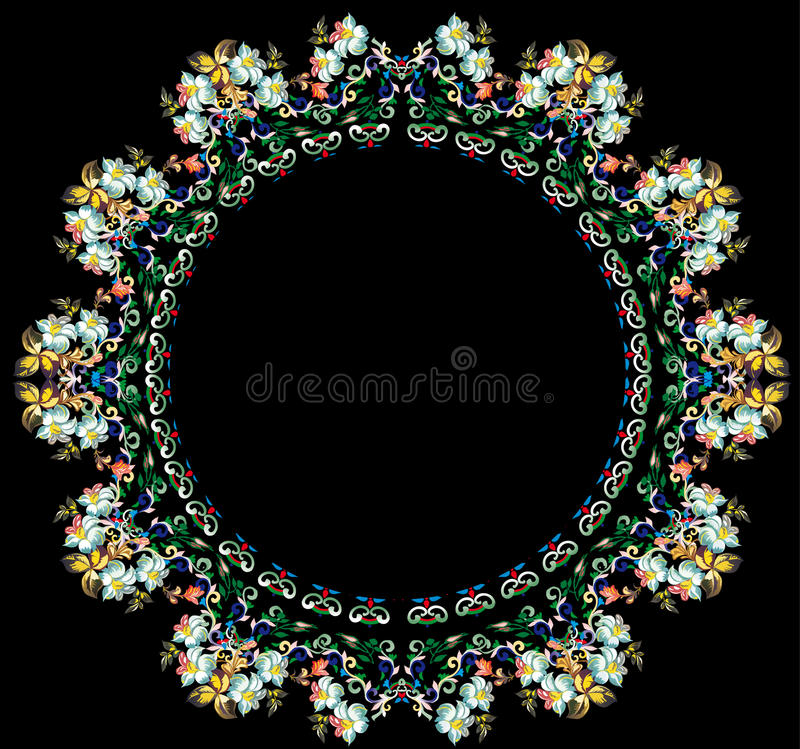 Download Light Flower Round On Black Background Stock Vector - Image: 15561802