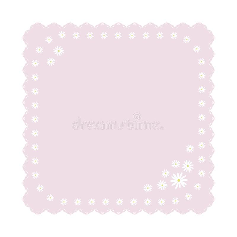 Light gently pink square napkin with light white daisies flowers cute children carved edge decor object isolated on white backgrou royalty free illustration