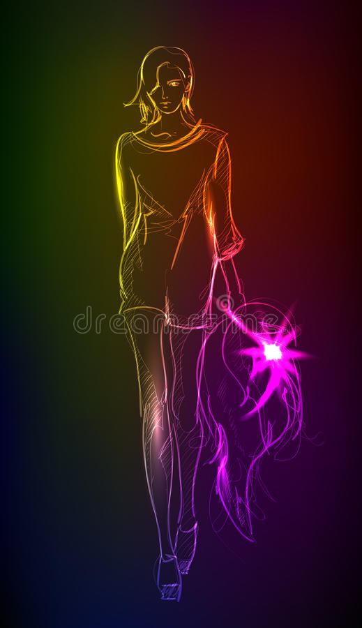 A light girl's. Hand-drawn fashion model from a neon. A light girl's