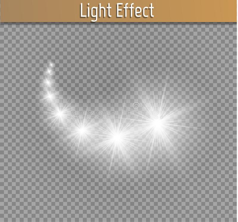 Light glow effect stars bursts with sparkles isolated on transparent background stock illustration