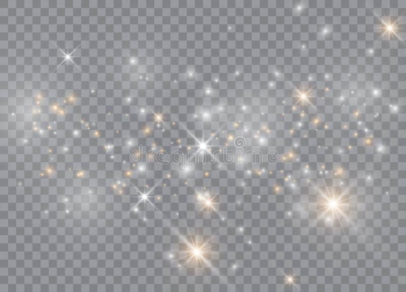 Light glow effect stars. Vector sparkles on transparent background. Christmas abstract pattern. Sparkling magic dust particles royalty free illustration