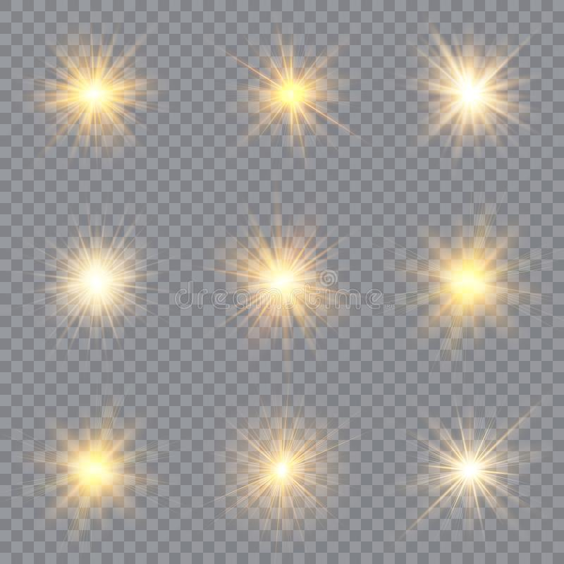 Light glow effect stars. Vector sparkles on transparent background. Christmas abstract pattern. Sparkling magic dust particles. Light glow effect stars. Vector royalty free illustration
