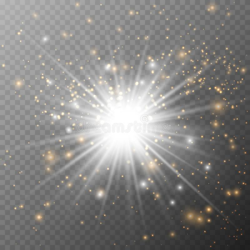 Light glow effect stars. Vector sparkles on transparent background. Christmas abstract pattern. Sparkling magic dust particles. Light glow effect stars. Vector vector illustration