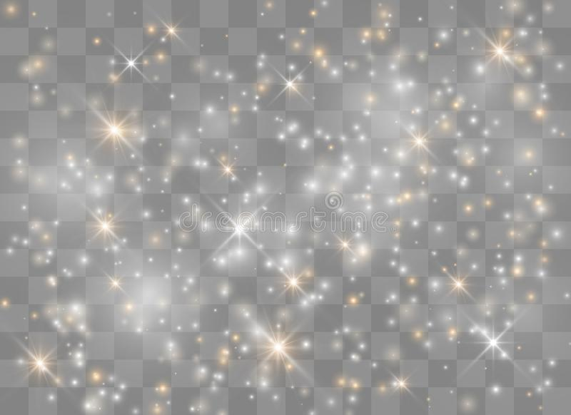 Light glow effect stars. Vector sparkles on transparent background. Christmas abstract pattern. Sparkling magic dust particles stock illustration