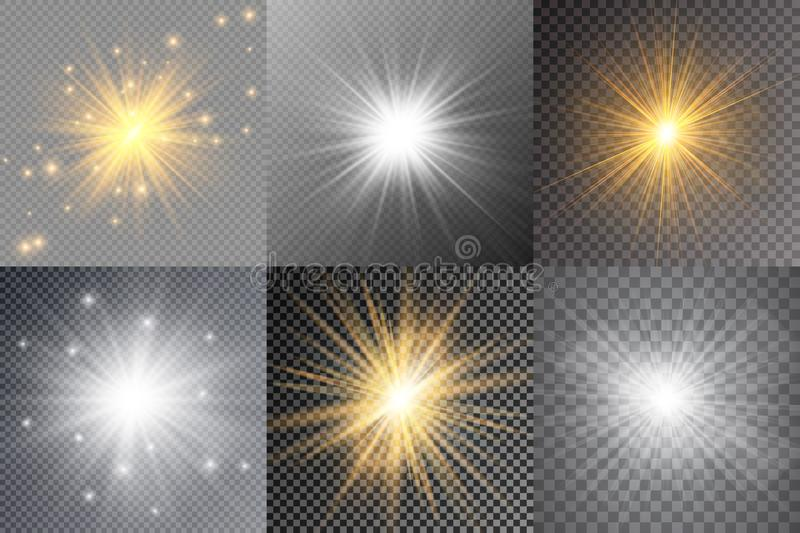 Light glow effect stars. Vector sparkles on transparent background. Christmas abstract pattern. Sparkling magic dust particles. Light glow effect stars. Vector stock illustration