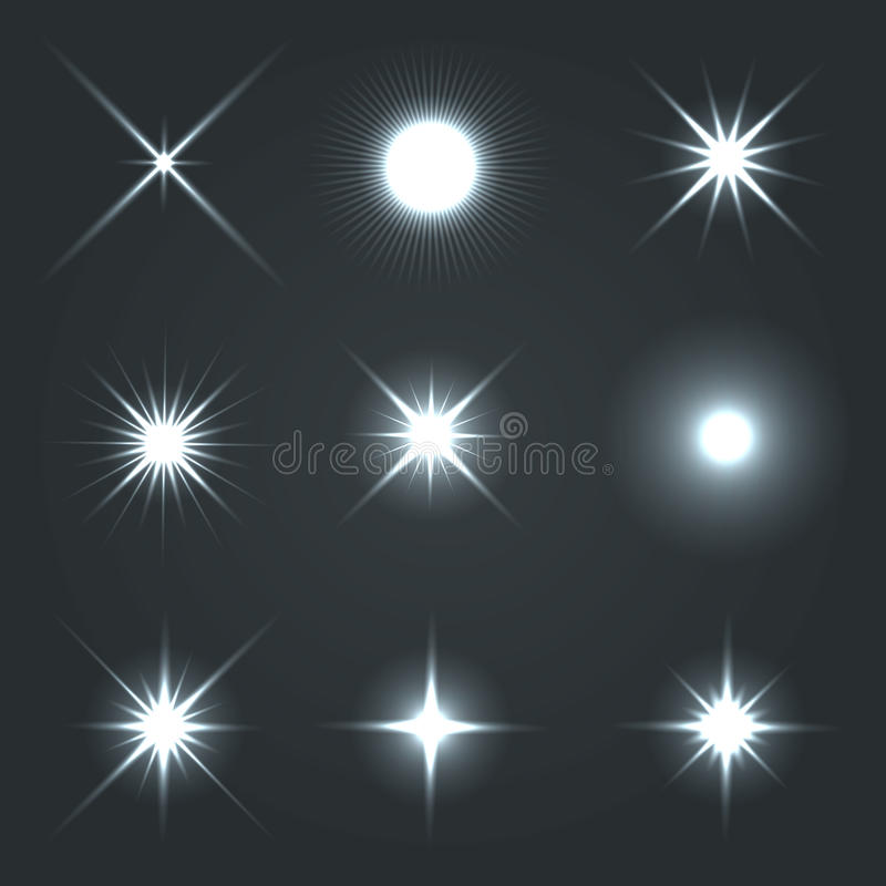 Light Glow Flare Stars Effect Set. royalty free illustration