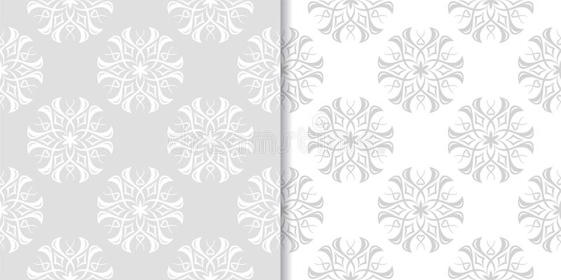 Light gray floral backgrounds. Set of seamless patterns royalty free illustration