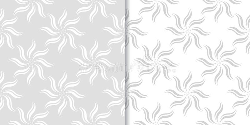 Light gray floral backgrounds. Set of seamless patterns stock illustration